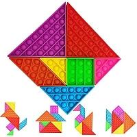 ihocon: LCKLA Tangram Puzzle Push Bubble Pop Its tangles Fidget Toys 減壓七巧板