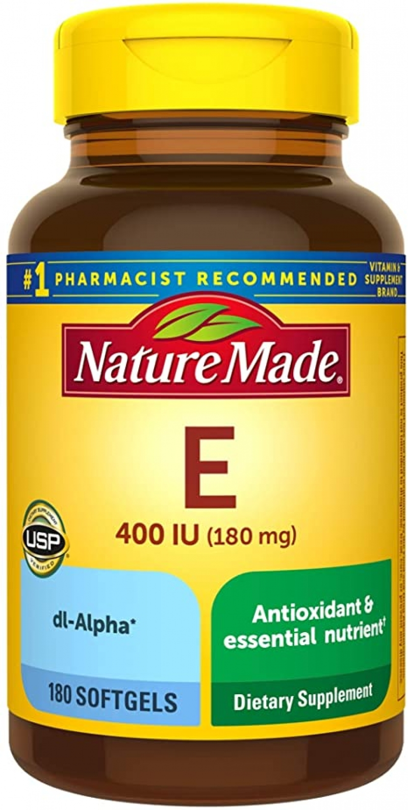 ihocon: Nature Made Vitamin E 180 mg (400 IU) dl-Alpha Softgels, 180 Count for Antioxidant Support