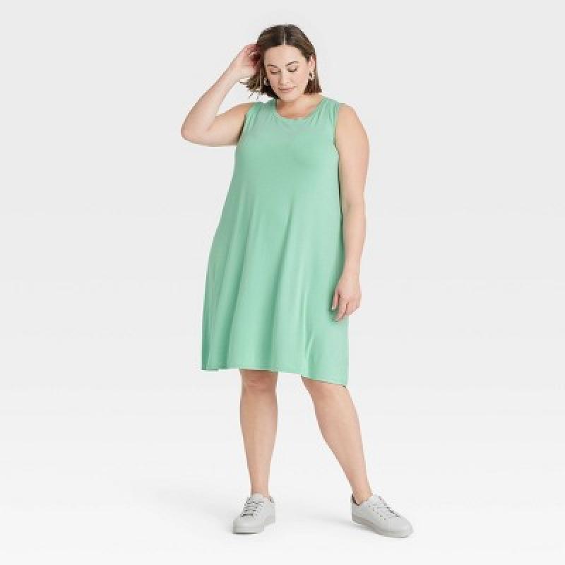 ihocon: Ava & Viv Women's Plus Size Sleeveless Knit Swing Dress 大尺碼女士無袖連衣裙-多色可選