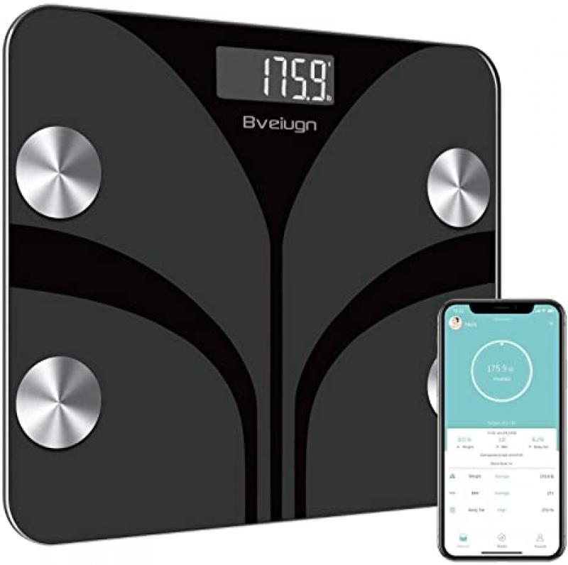 ihocon: Bveiugn Digital Bathroom Wireless Fat Smart BMI Body Composition Analyzer Health Monitor Sync 13 Data with Other Fitness Apps 智能體脂體重秤