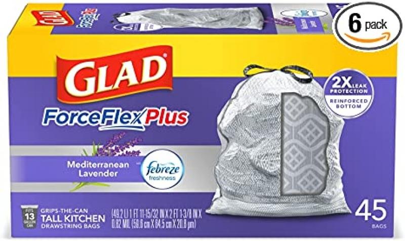 ihocon: Glad ForceFlexPlus Tall Kitchen Drawstring Trash Bags, Lavender, 13 Gal, 45 Ct廚房抽繩垃圾袋,薰衣香味