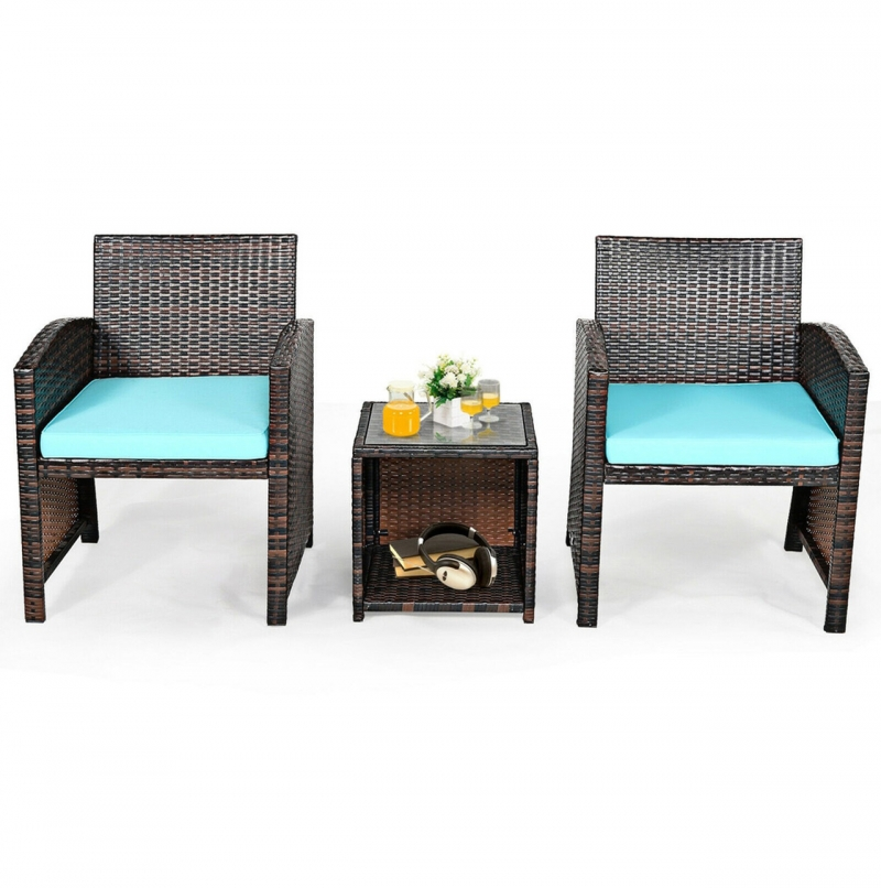 ihocon: Rattan 3-Piece Outdoor Chairs and Table Set 戶外三件式藤傢俱