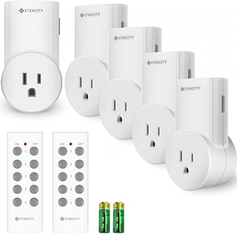 ihocon: Etekcity ZAP 5LX Wireless Remote Control Outlet Switch for Lights, 5 pack 無線遙控插座(適用於燈、燈、風扇...)