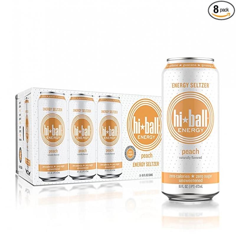 ihocon: Hiball Peach Energy Seltzer, Zero Sugar and Calorie, 16 Fl Oz Cans, 8 Count能量飲料