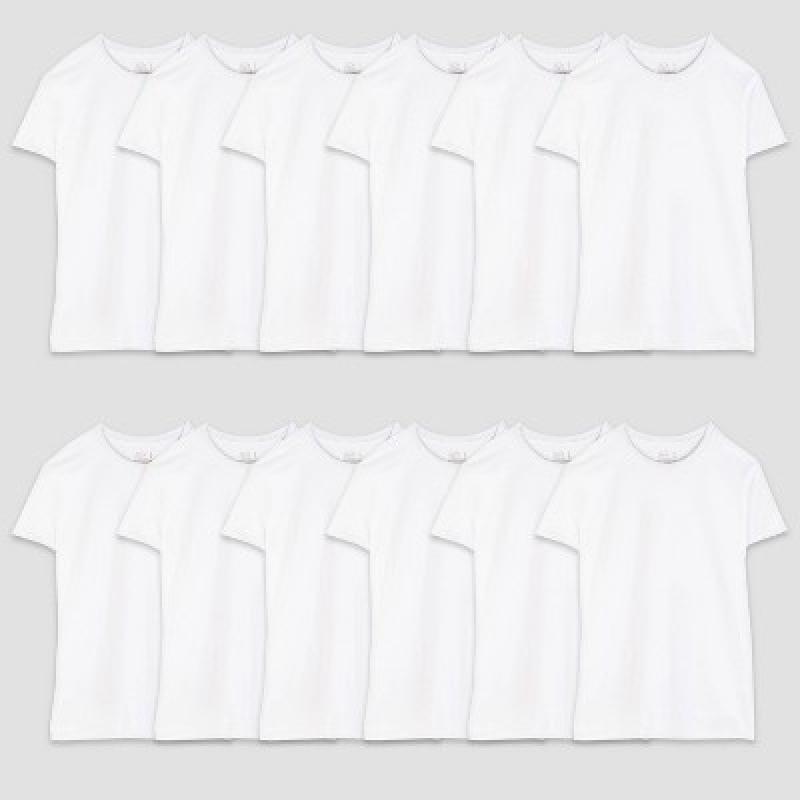 ihocon: Fruit of the Loom Men's 12pk Crew Neck Short Sleeve T-Shirt - White   100% Cotton純棉男士短袖衫