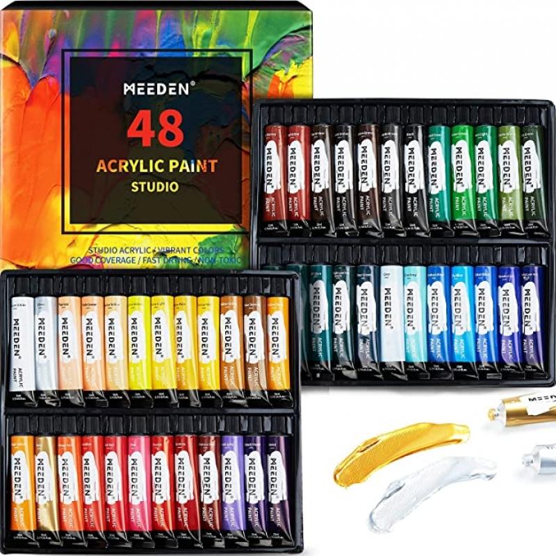 ihocon: MEEDEN Acrylic Paint Set 48 Colors(22ml/0.74 oz), Acrylic Paint 壓克力顏料 / 丙烯顏料 48色