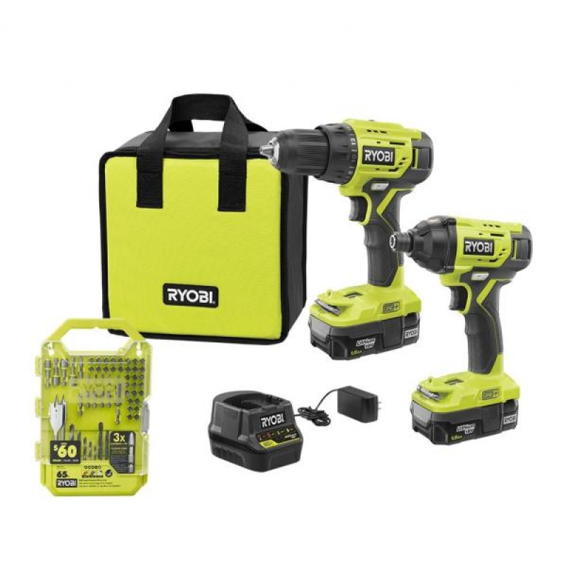 ihocon: ONE+ 18V Cordless 2-Tool Combo Kit with Drill/Driver, Impact Driver, Batteries, Charger, Bag, and Drill Kit (65-Piece) 無線電鑽/電動螺絲起子,電池, 充電器, 鑽頭螺絲頭配件及收納包