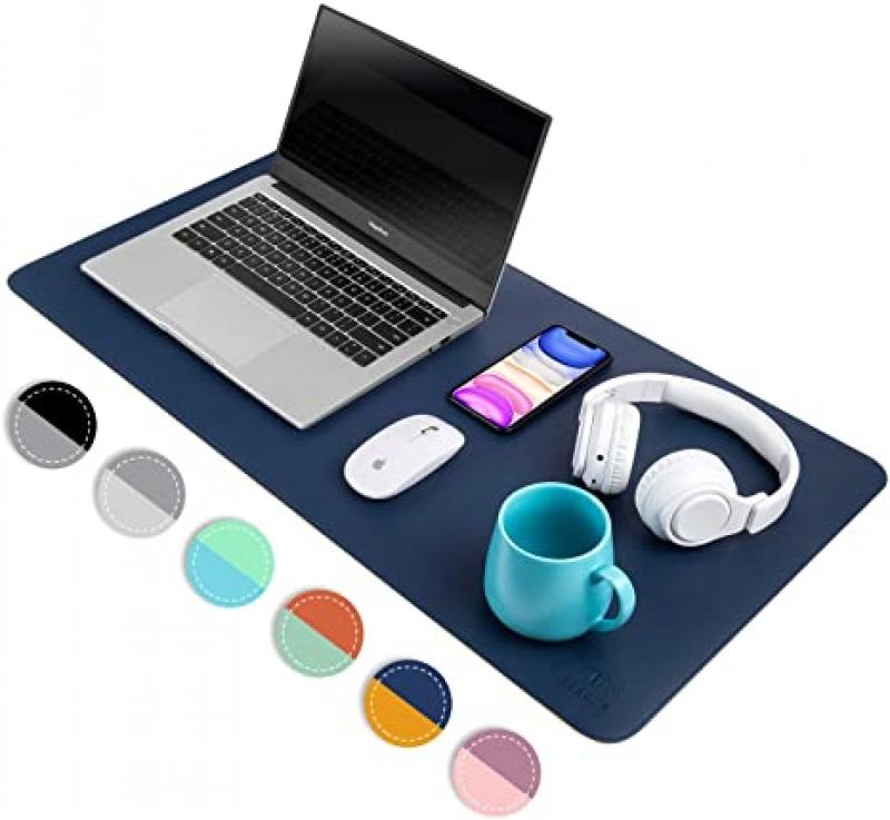 ihocon: SEEKUP Dark Blue/Yellow Dual-sided PU Leather Desk Pad, 80x40cm 雙面仿皮防水超大滑鼠墊/桌墊