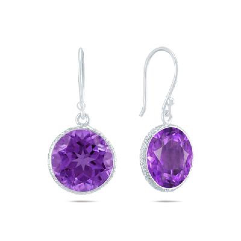 ihocon: 12MM February Amethyst Dangle Drop Earrings in .925 Sterling Silver純銀紫水晶耳環