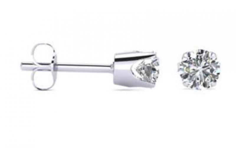 ihocon: 1/2 Carat TW Round Moissanite Stud Earrings in 14 Karat White Gold Filled (G-H, VS1-VS2)