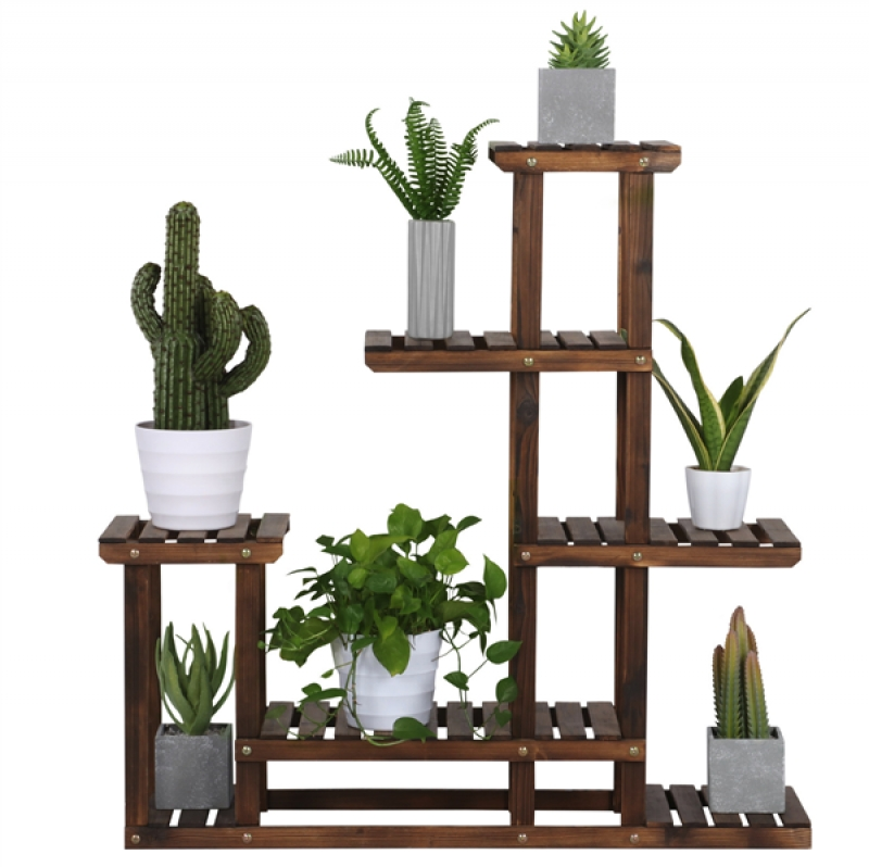 ihocon: SmileMart 6-Shelf Wooden Flower Stand Plant Display for Indoors and Outdoors木製花架