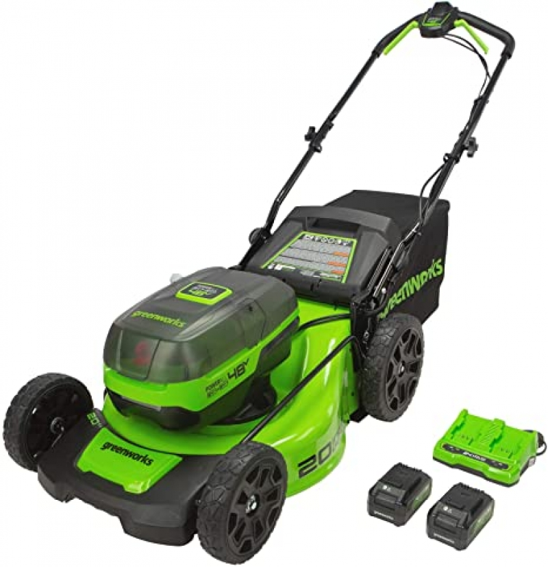 ihocon: Greenworks 2 x 24V (48V) 20 Brushless Push Mower, (2) 4Ah USB Batteries and Dual Port Charger 無線電動除草機, 含2個電池及充電器