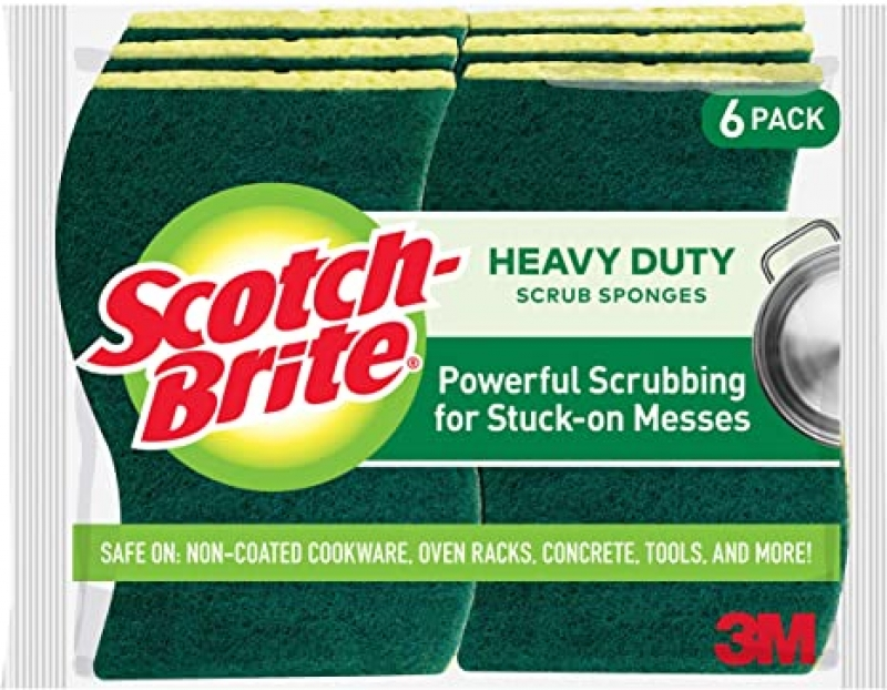 ihocon: Scotch-Brite Heavy Duty Scrub Sponges, 6 Scrub Sponges, Stands Up to Stuck-on Grime 清潔海綿
