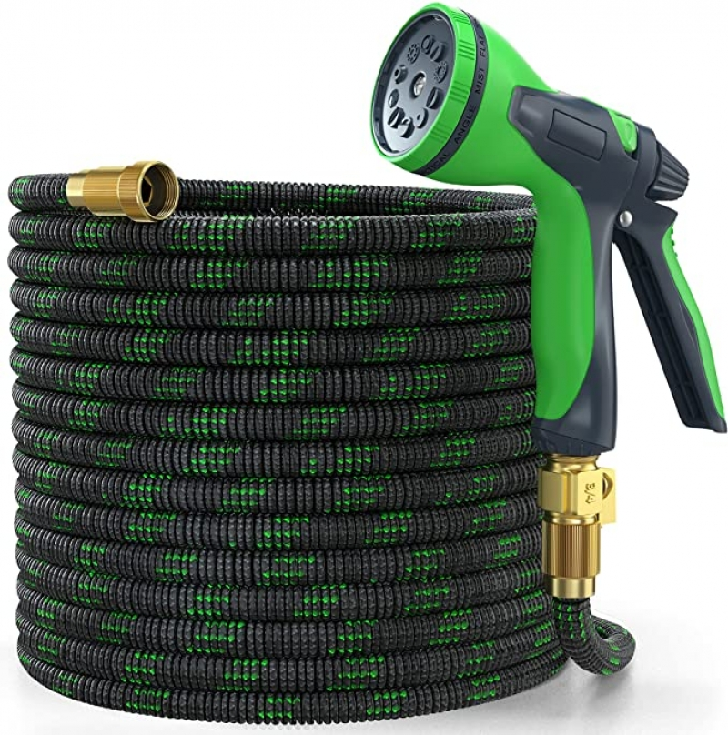 ihocon: YEMMEN Garden Hose 50ft Expandable Water Hose with 10 Function Nozzle and Solid Brass Fittings 伸縮澆花水管, 含噴水頭