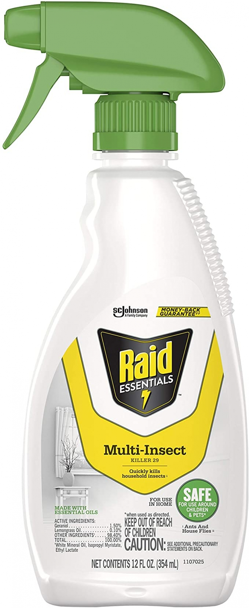 ihocon: Raid Essentials MultiInsect Killer Spray Bottle Child Pet Safe for Indoor Use, 12 Ounce 室內用殺蟲劑(兒童寵物安全)