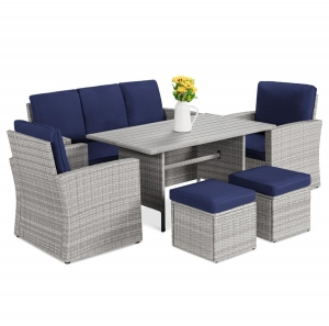 ihocon: Best Choice Products 7-Seater Conversation Wicker Dining Table, Outdoor Patio Furniture Set 陽台桌椅組