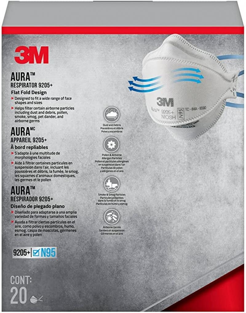 ihocon: 3M Aura N95 Particulate Respirator 9205+, 20/Pack 口罩