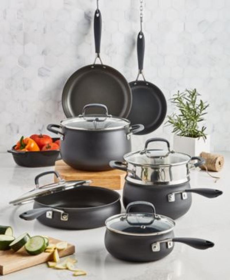 ihocon: Belgique Hard-Anodized Aluminum 12-Pc. Nonstick Cookware Set 不沾鍋組