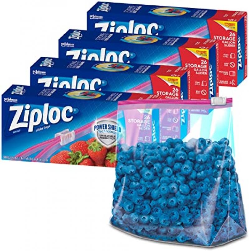 ihocon: Ziploc Gallon Food Storage Slider Bags, 26 Count, Pack of 4 (104 Total Bags) 滑鍊食物保存袋