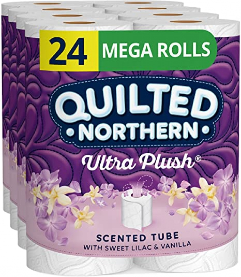 ihocon: Quilted Northern Ultra Plush Toilet Paper with Sweet Lilac & Vanilla Scented Tube, 24 Mega Rolls 廁所衛生紙