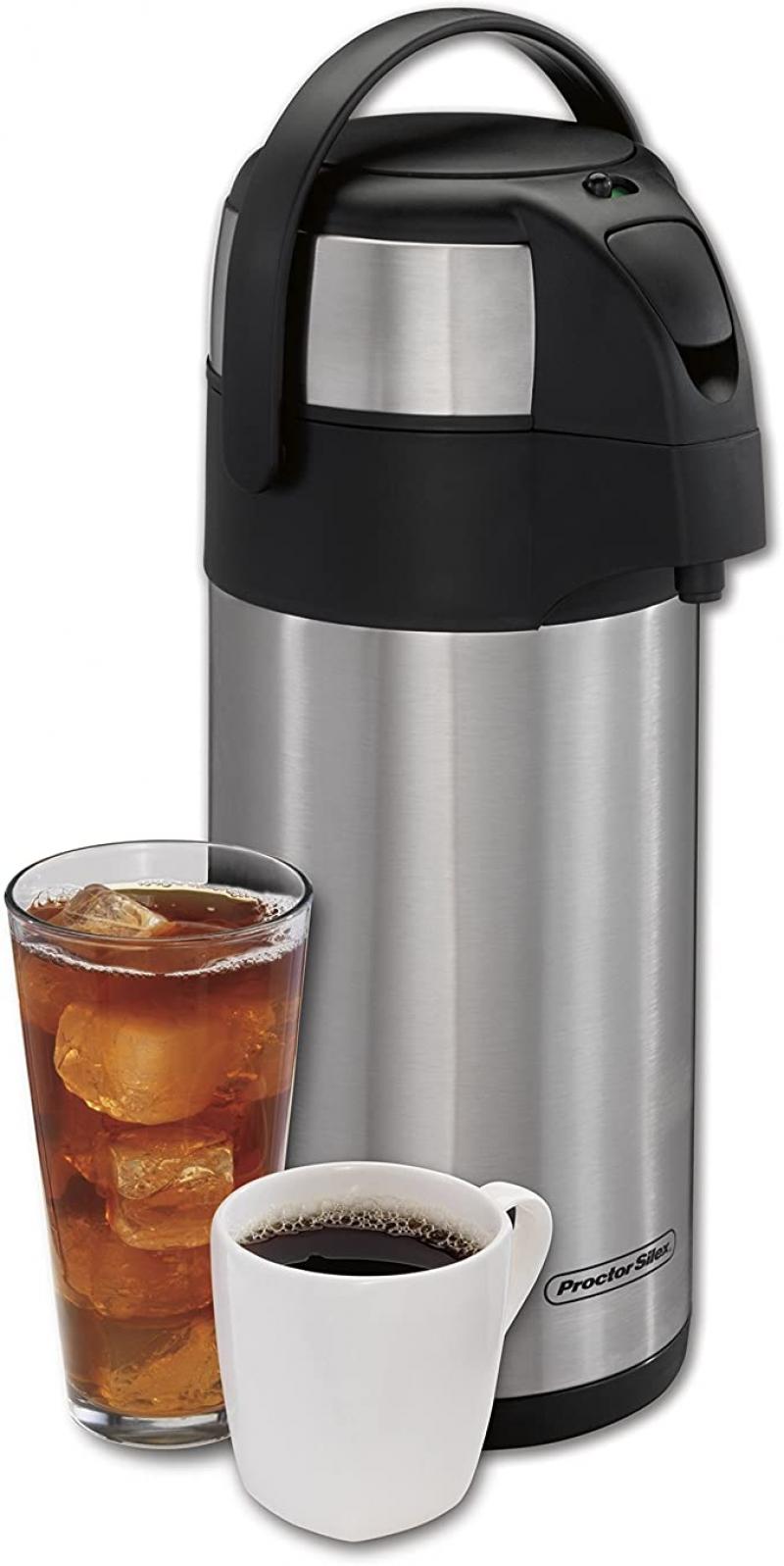 ihocon: Proctor Silex 3 Liter Airpot Hot Coffee Beverage Dispenser with Pump 按壓式飲料保温瓶(保熱12小時, 保冷24小時)