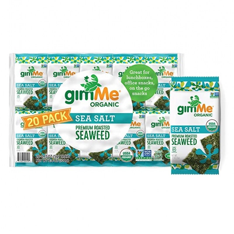 ihocon: gimMe Organic Roasted Seaweed Sheets - Sea Salt - 20 Count 有機鹽烤海苔