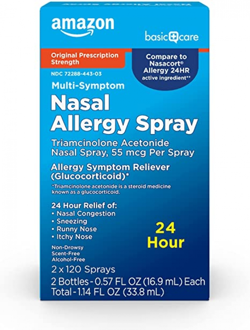 ihocon: Amazon Basic Care Multi-Symptom Nasal Allergy Spray, Triamcinolone Acetonide Nasal Allergy Spray, 55 mcg per Spray, 1.14 Fluid Ounces,White    鼻過敏噴劑