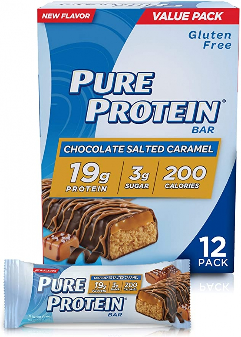 ihocon: Pure Protein Bars, High Protein, Nutritious Snacks to Support Energy, Low Sugar, Gluten Free, Chocolate Salted Caramel, 1.76oz, 12 Pack 低糖蛋白質補充棒