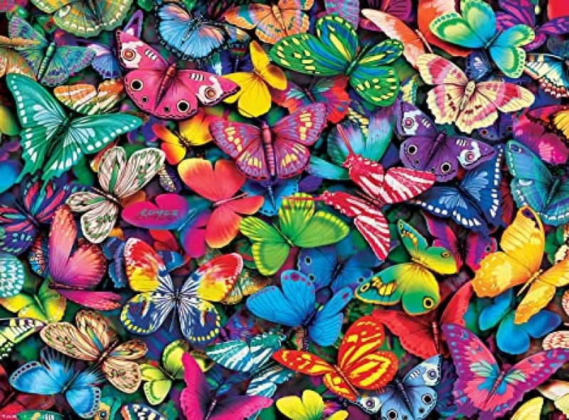 ihocon: Buffalo Games - Vivid Collection - Butterflies - 1000 Piece Jigsaw Puzzle 拼圖