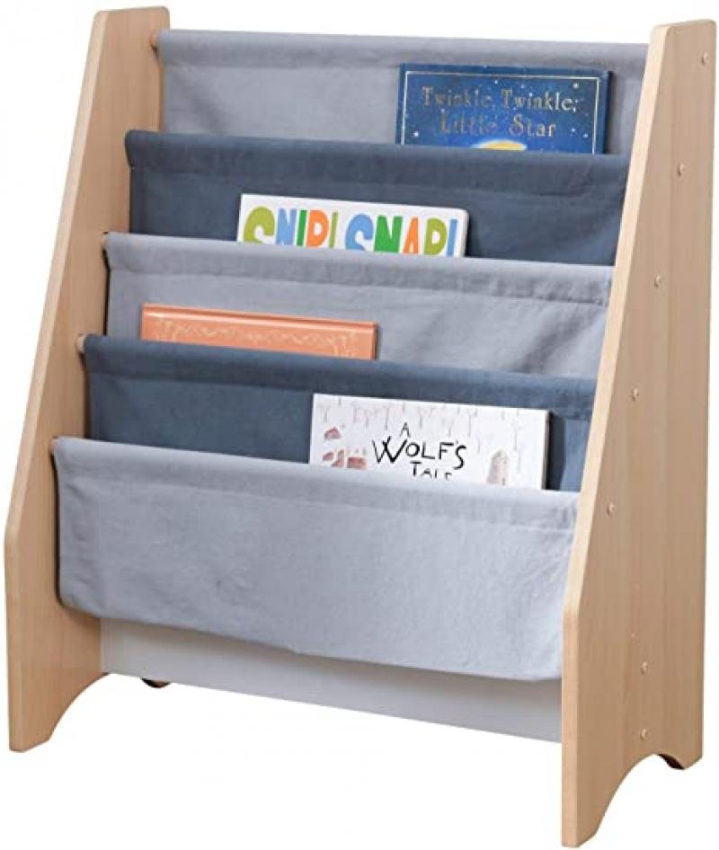 ihocon: KidKraft Wood and Canvas Sling Bookshelf Furniture for Kids 兒童書架