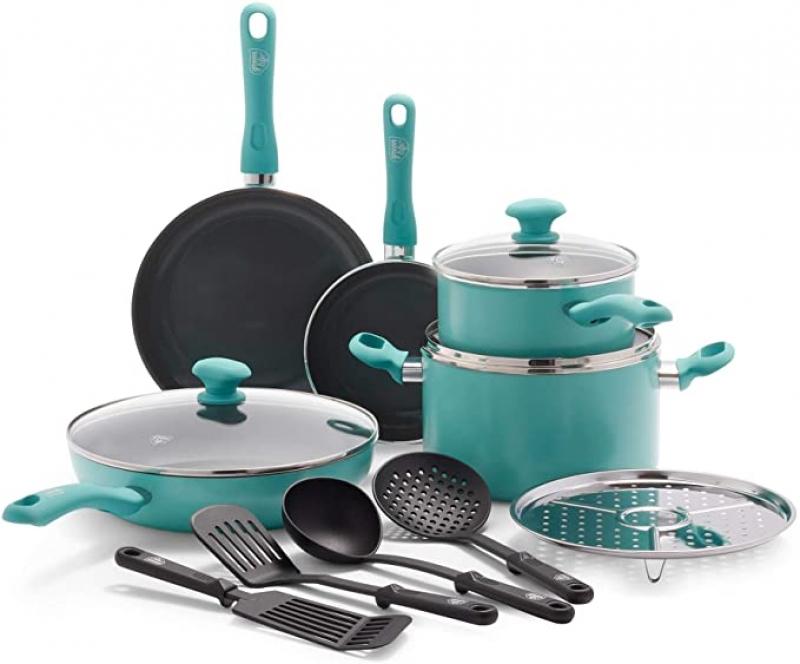 ihocon: GreenLife Soft Grip Diamond Healthy Ceramic Nonstick, Cookware Pots and Pans Set, 13 Piece 不沾鍋組