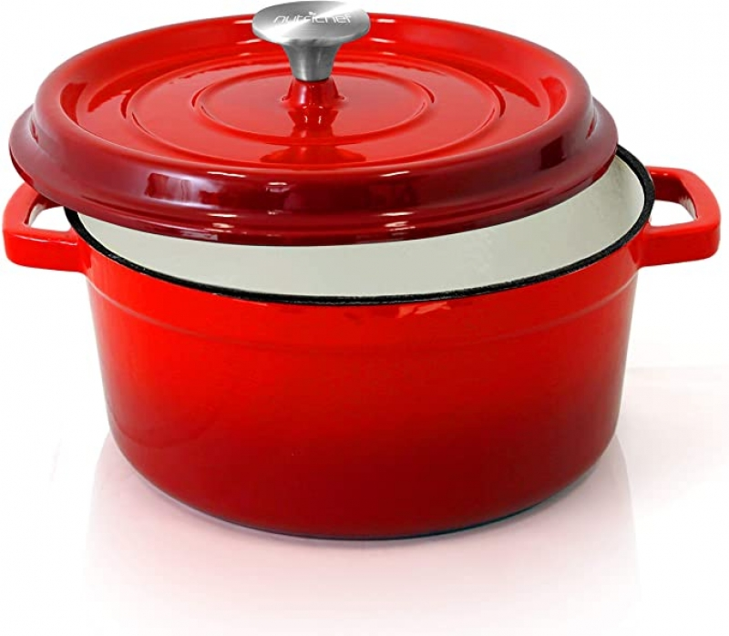 ihocon: NutriChef Enameled Cast Iron Dutch Oven - 5-Quart 鑄鐵鍋