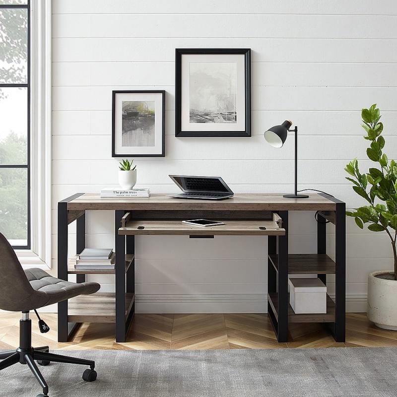 ihocon: Walker Edison 60 Modern Industrial USB Power Computer Desk 電腦桌