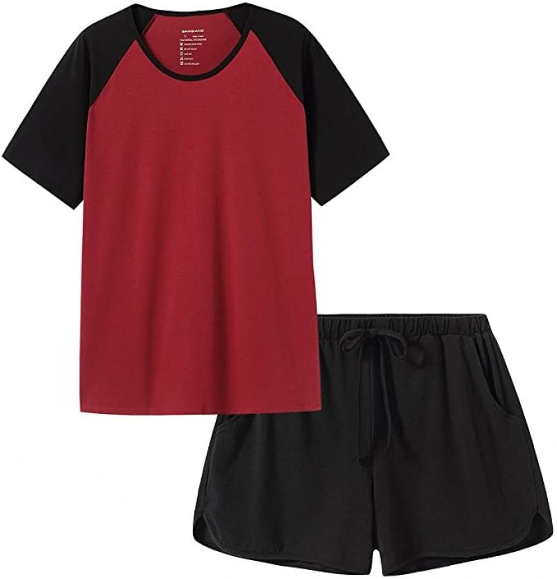 ihocon: SANQIANG 2 Pcs Women's Sleepwear Lightweight Cotton Spandex Stretchy Short Pajamas Set  2件女士短袖睡衣/家居服
