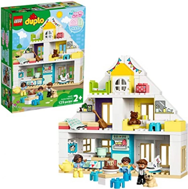 ihocon: LEGO DUPLO Town Modular Playhouse 10929 Dollhouse with Furniture and a Family (130 Pieces)