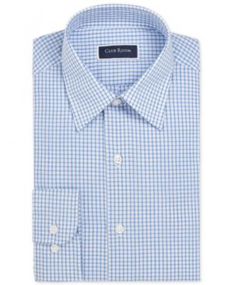 ihocon: Club Room Men's Classic/Regular-Fit Check Dress Shirt 男士長袖襯衫-多色可選