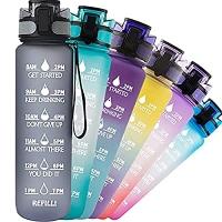ihocon: TACGEA Water Bottle 32oz, Motivational Sports Water Bottle 時間標記鼓勵喝水水瓶