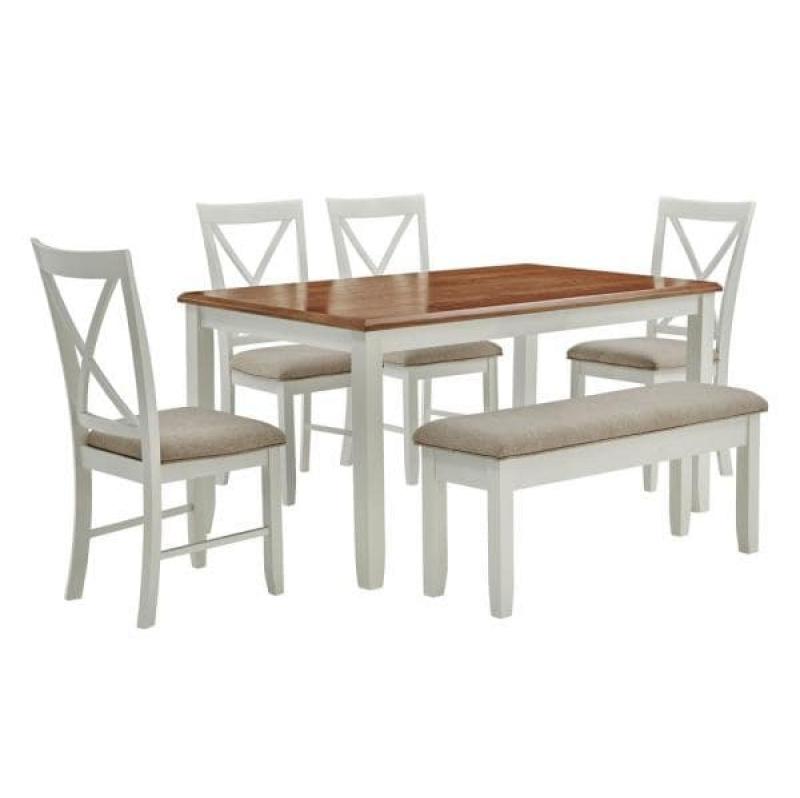 ihocon: Powell Company 6-Piece Powell Twyla Brown Dining Set 餐桌椅組
