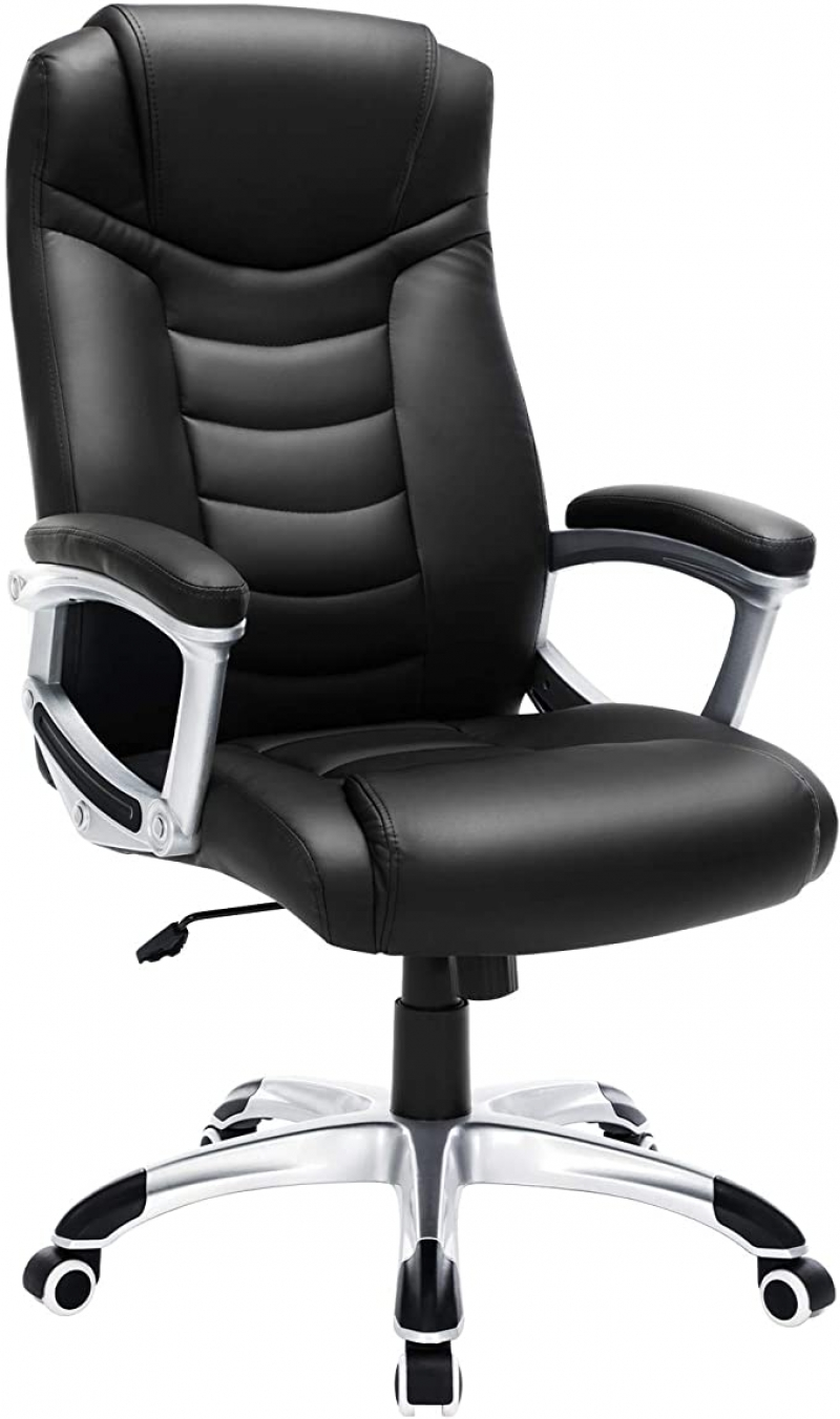 ihocon: SONGMICS Thick Executive Office Chair with High Back Large Seat and Tilt Function 高背仿皮辦公椅/電腦椅