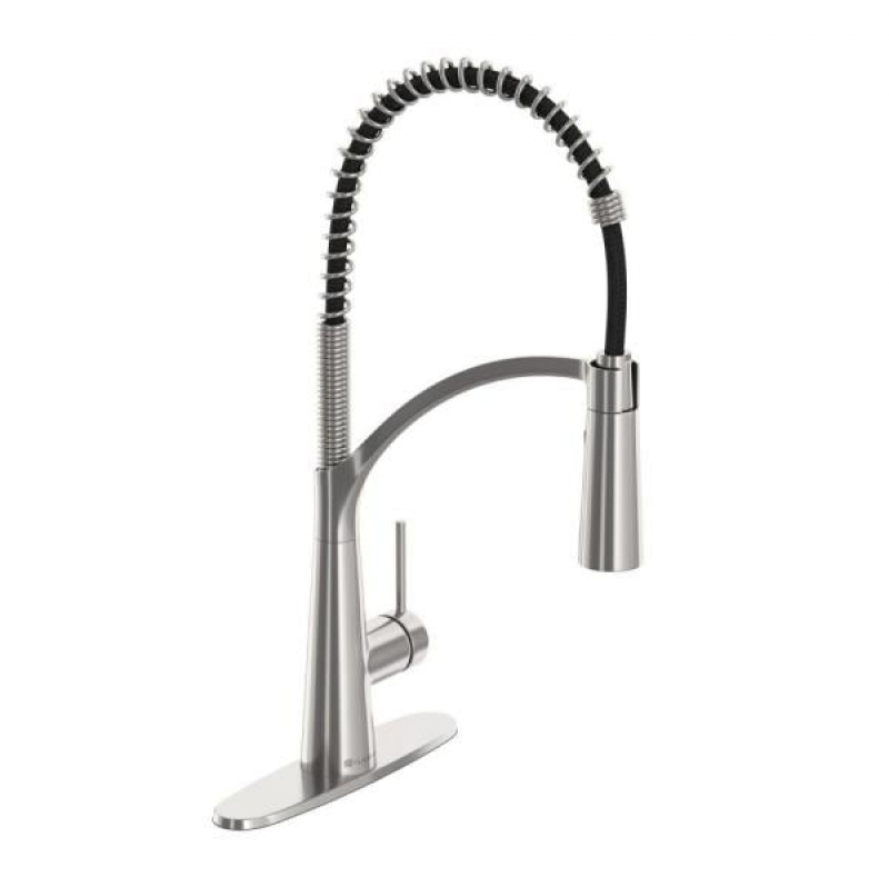ihocon: Glacier Bay Brenner Commercial Style Single-Handle Pull-Down Sprayer Kitchen Faucet in Stainless Finish    下拉式廚房水龍頭