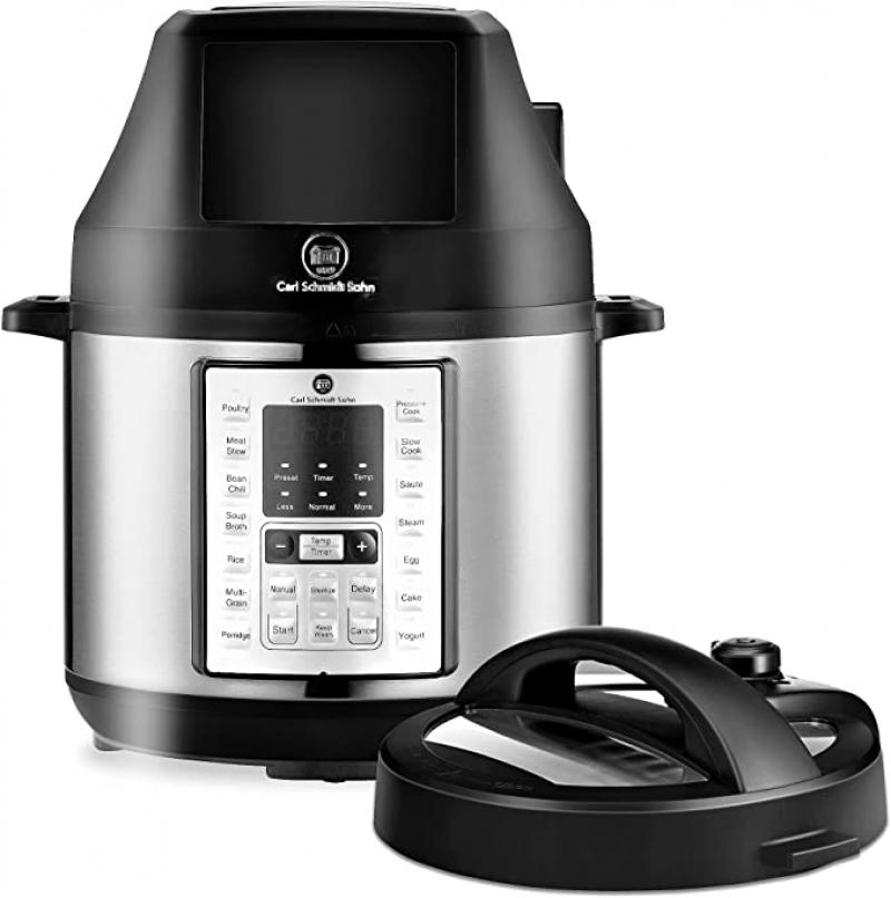 ihocon: CARL SCHMIDT SOHN 6.5Qt Pressure Cooker and Air Fryer Combos, 21-in-1 Programmable Pressure Pot with Detachable Pressure & Crisp Lid 電壓力鍋和空氣炸鍋組合鍋
