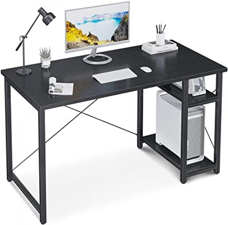ihocon: MOTPK Computer Desk with Storage Shelves, 47 inch 電腦桌/辦公桌,黑色