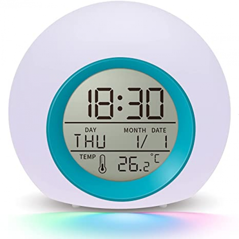 ihocon: Umeisiyi 7 Color Nightlight Snooze Temperature Detect Alarm Clock 兒童鬧鐘