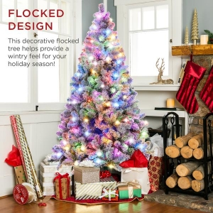 ihocon: Best Choice Products Pre-Lit Snow Flocked Artificial Pine Christmas Tree w/ Multicolored Lights 彩燈聖誕樹
