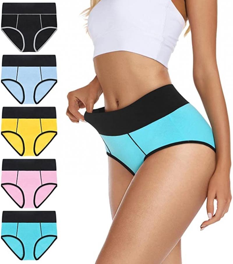 ihocon: VIVISOO Women's Stretch Cotton Underwear High Waisted Panties Soft Breathable Briefs 5-Pack  女士高腰內褲