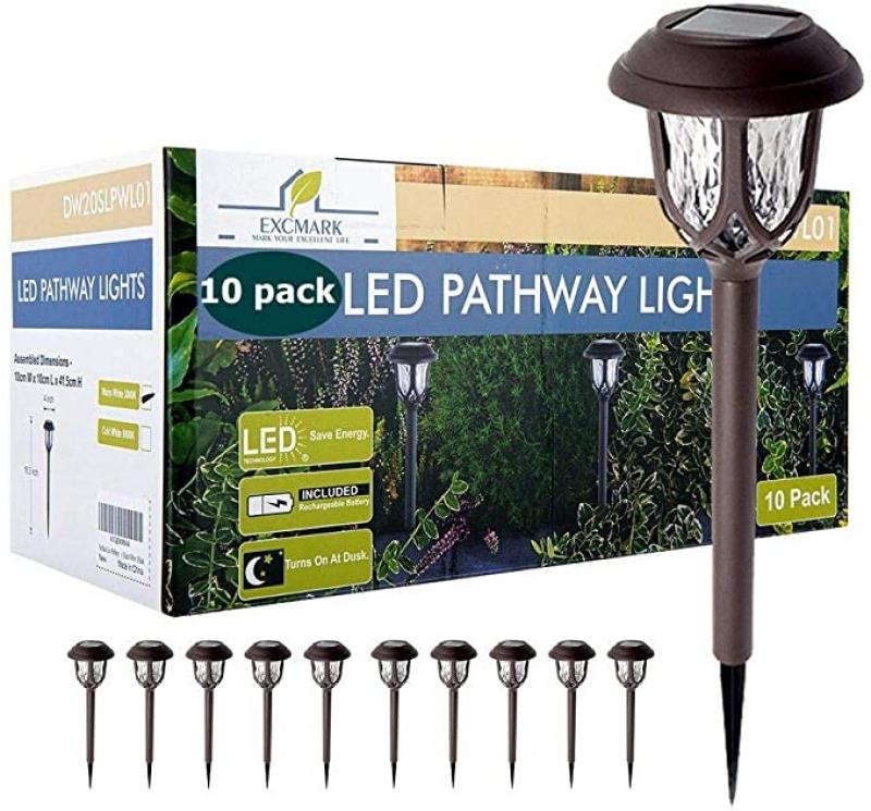 ihocon: ExcMark Solar Pathway Lights 10 Pack 太陽能庭園燈 10盞