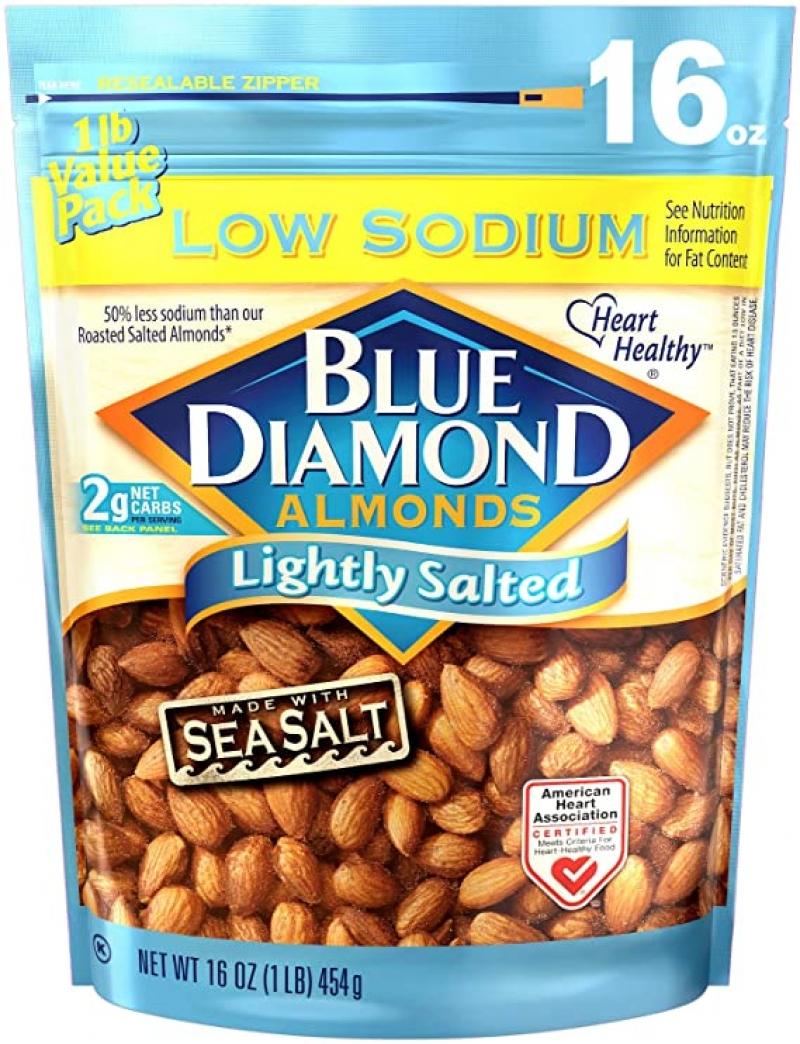 ihocon: Blue Diamond Almonds Low Sodium Lightly Salted Snack Nuts, 16 Oz 低鈉少鹽杏仁
