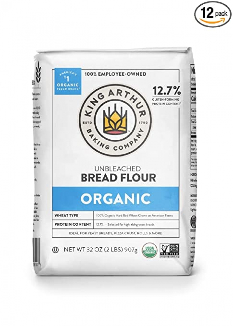 ihocon: King Arthur, 100% Organic Unbleached Bread Flour, Non-GMO Project Verified, No Preservatives, 2 Pounds (Pack of 12) 有機未漂白麵包麵粉(高筋)