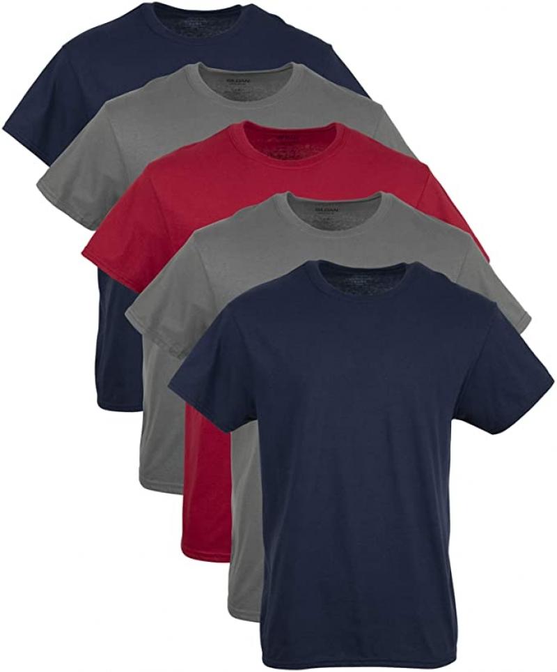 ihocon: Gildan Men's Crew T-Shirts, Multipack  100% Cotton 男士純棉短袖衫 5件