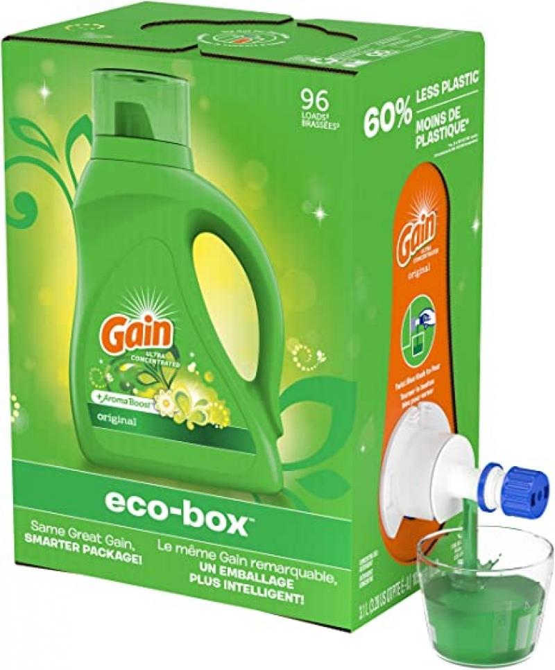 ihocon: Gain Liquid Laundry Detergent Soap Eco-Box, Ultra Concentrated High Efficiency (HE), Original Scent, 96 Loads  超濃縮高效洗衣精